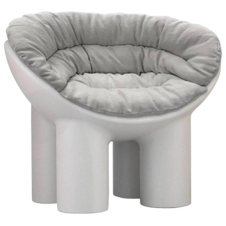 Roly Poly Polyethylene Armchair in Concrete with Cushions by Faye Toogood For Sale