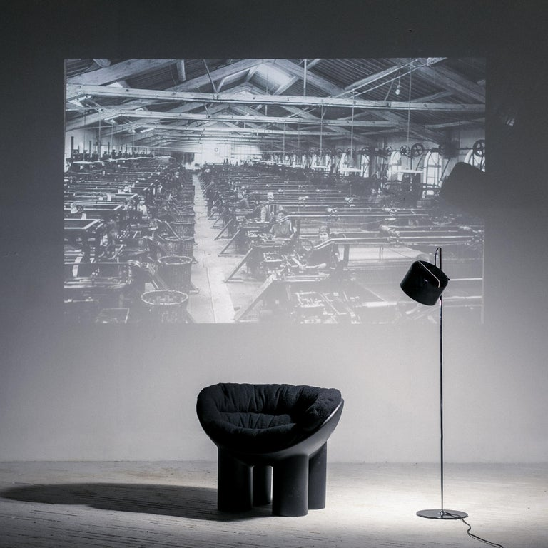 Italian Roly Poly X Casentino Armchair in Black with cushion by Faye Toogood For Sale