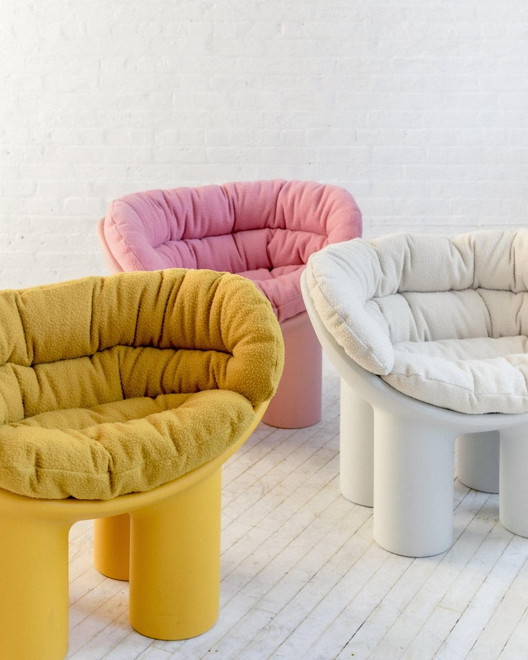 Roly Poly X Casentino Armchair in Pink with cushion by Faye Toogood For Sale 4