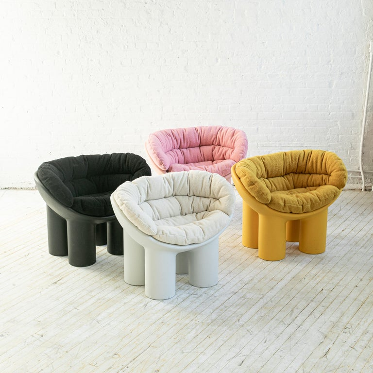 Contemporary Roly Poly X Casentino Armchair in Pink with cushion by Faye Toogood For Sale