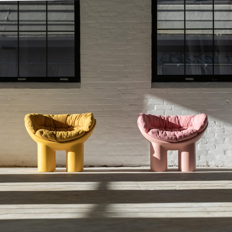 Roly Poly X Casentino Armchair in Pink with cushion by Faye Toogood For Sale 2
