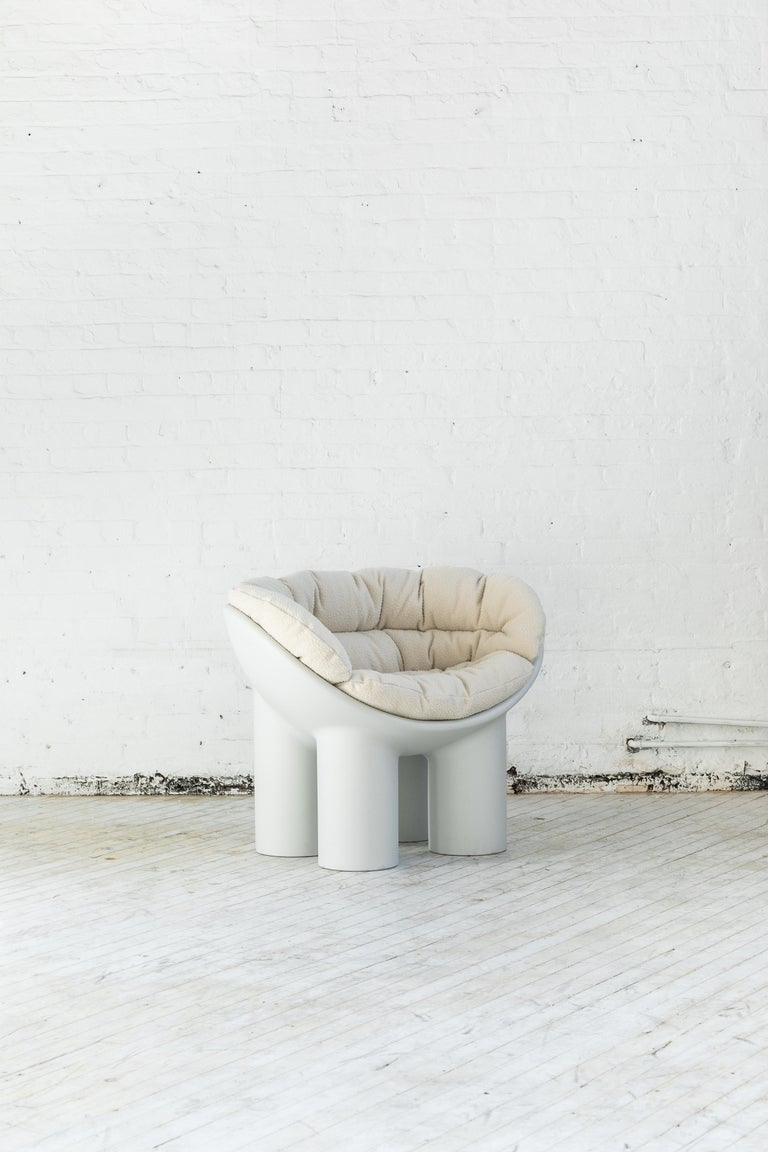 Italian Roly Poly Armchair in White by Faye Toogood with Casentino cushions For Sale