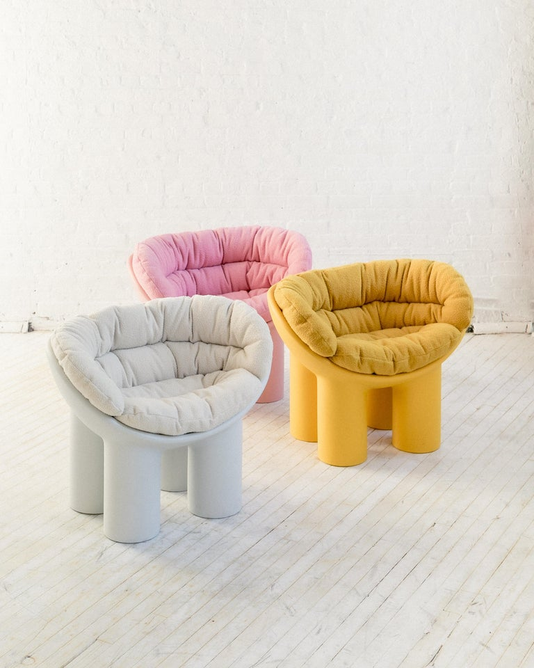 Wool Roly Poly Armchair in White by Faye Toogood with Casentino cushions For Sale