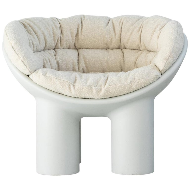 Roly Poly X Casentino Armchair in White with cushion by Faye Toogood For Sale