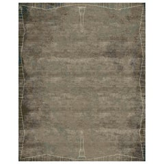Roma Camouflage Hand-Knotted Wool and Silk 8 x 10ft Rug