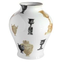 Roma, Contemporary Porcelain Vase with Decorative Design by Vito Nesta
