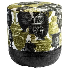Roma, Contemporary Printed Velvet and Natural Strew Pouf by Vito Nesta