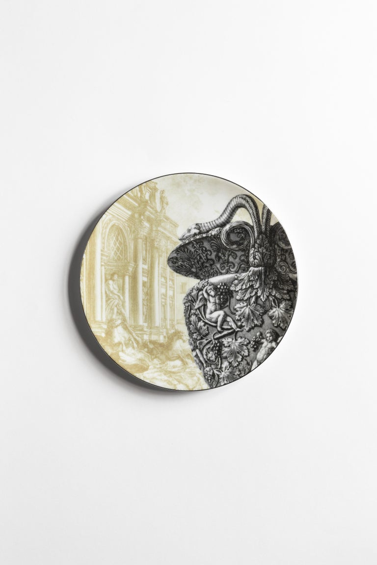 Italian Roma, Six Contemporary Porcelain Dinner Plates with Decorative Design For Sale