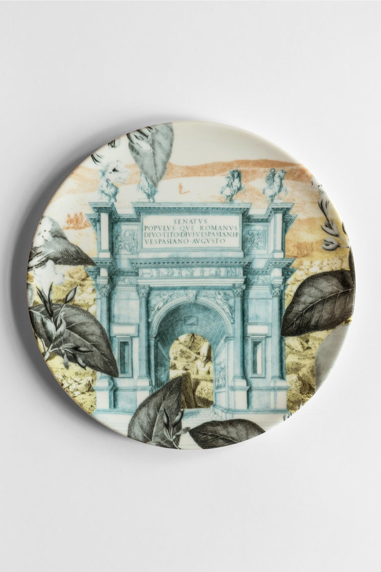 Italian Mediterraneo, Six Contemporary Porcelain Dinner Plates with Decorative Design For Sale