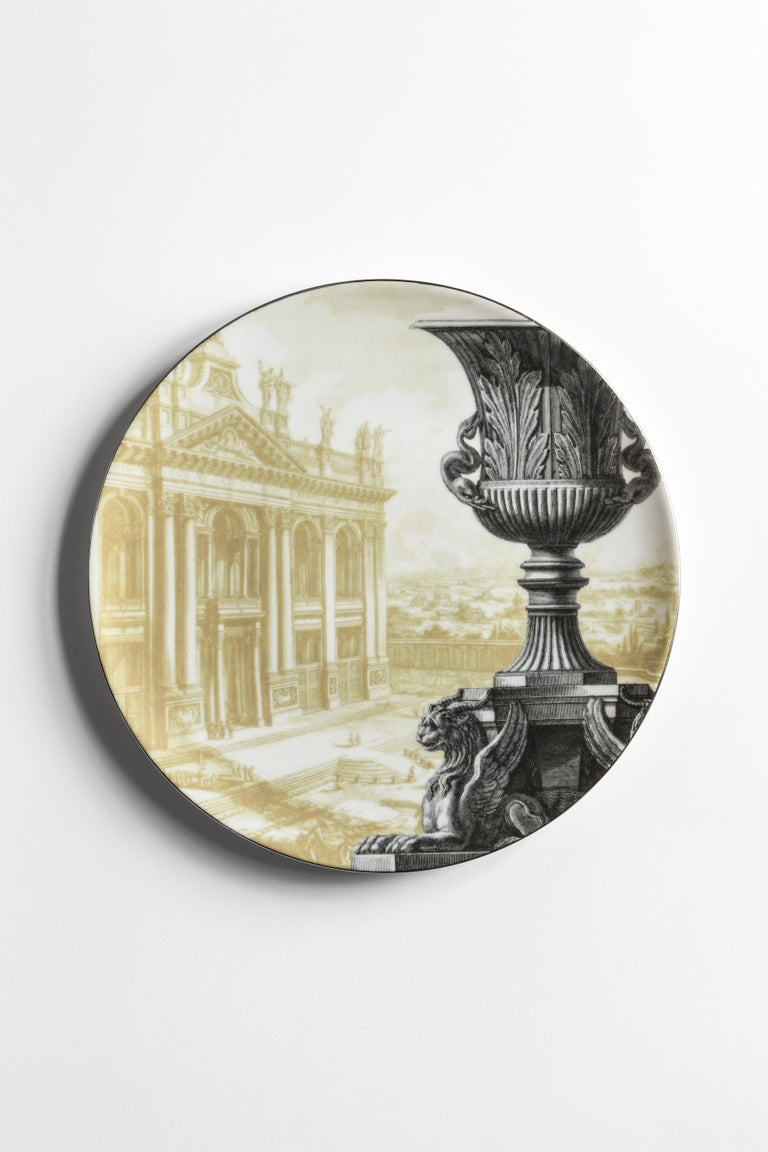Roma, Six Contemporary Porcelain Dinner Plates with Decorative Design For Sale 1