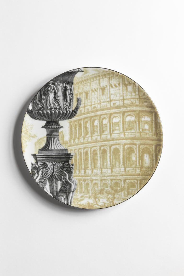Roma, Six Contemporary Porcelain Dinner Plates with Decorative Design For Sale 2