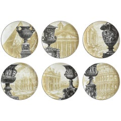 Roma, Six Contemporary Porcelain Dinner Plates with Decorative Design
