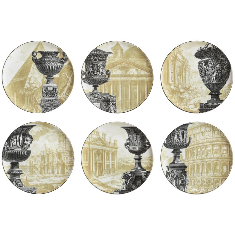 Vito Nesta set of 6 Roma porcelain dinner plates, New