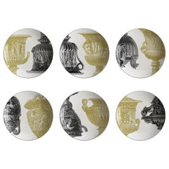 Roma, Six Contemporary Porcelain soup plates with Decorative Design