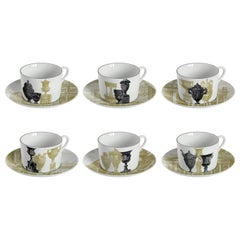 Roma, Tea Set with Six Contemporary Porcelains with Decorative Design