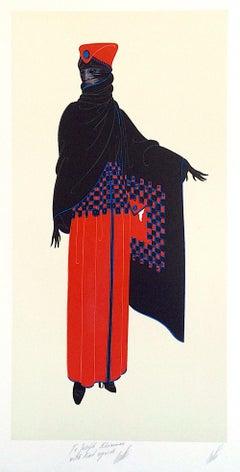 ZSA ZSA Signed Original Lithograph, 1920's Fashion Illustration, Art Deco
