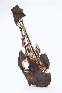 Hyakutake by Romain Langlois - Rock-like bronze sculpture, golden