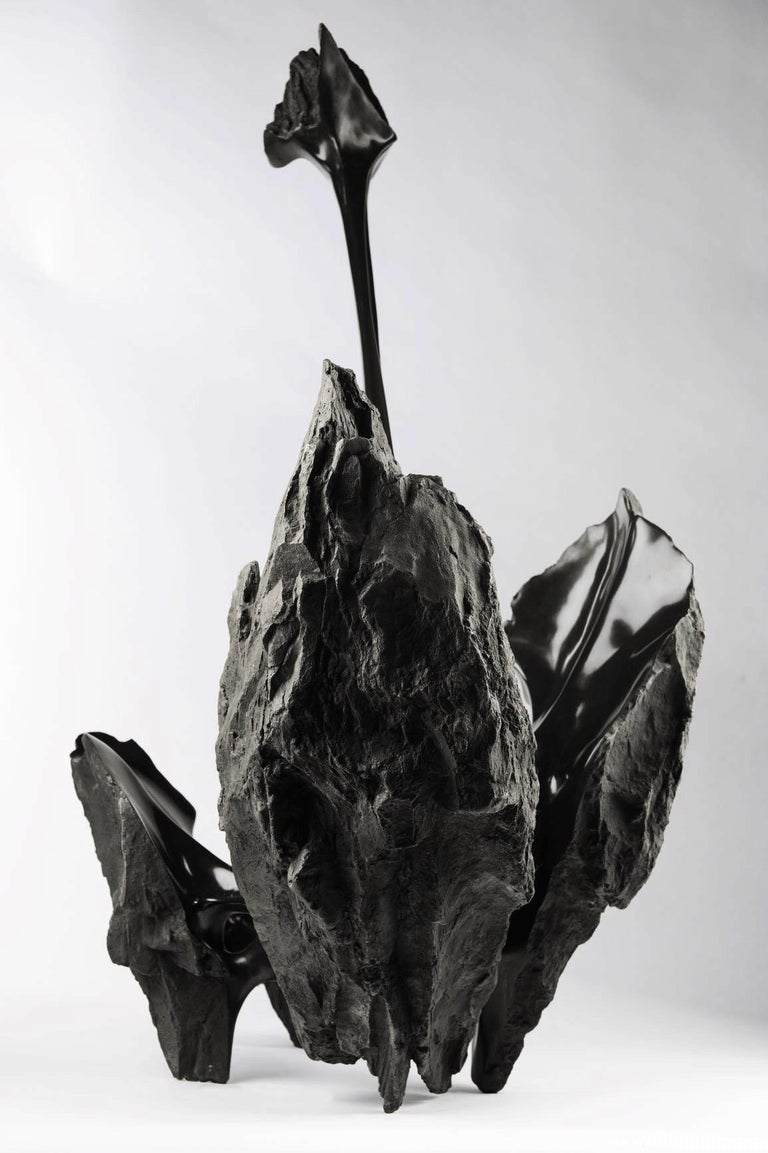 Serendipity by Romain Langlois - Contemporary bronze sculpture, Bisected Boulder For Sale 2