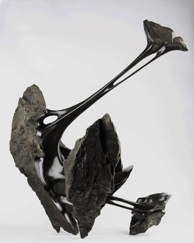 Serendipity by Romain Langlois - Contemporary bronze sculpture, Bisected Boulder For Sale 3