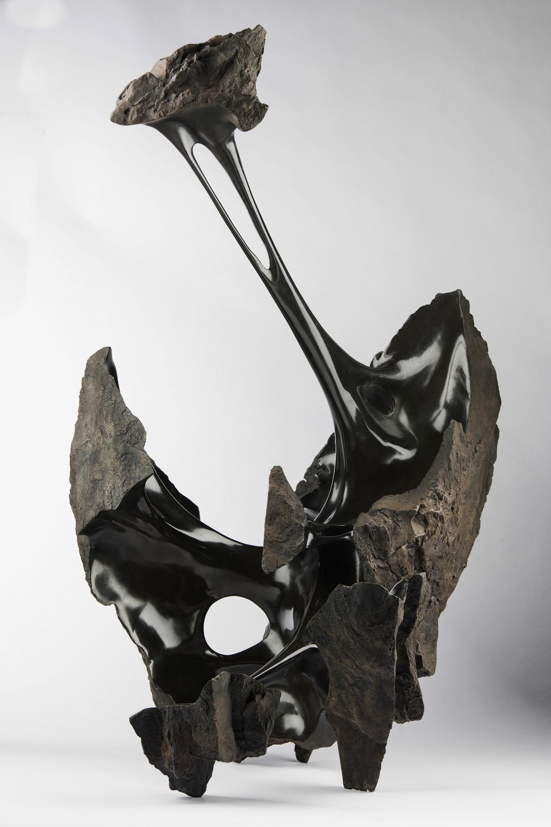 Serendipity by Romain Langlois - Contemporary bronze sculpture, Bisected Boulder