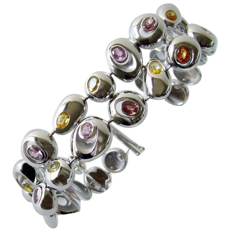 Romain Saide Modern Contemporary Multi-Color Sapphire White Gold Bracelet For Sale