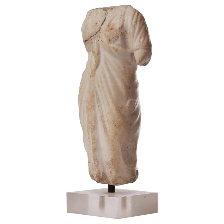 Roman 2nd Century Elegant Draped Venus Torso, Marble For Sale