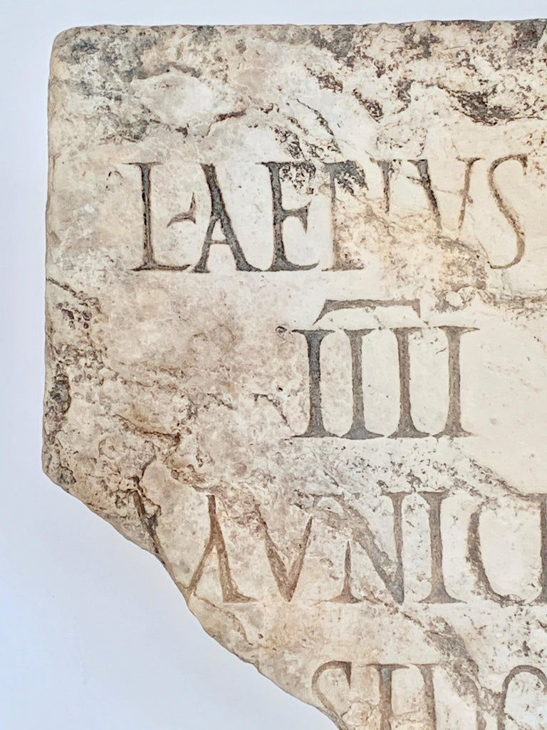 Roman Antiquities stone sculpture fragment Rare latin text fragment 2nd century, Spain Provenance: Private Collector