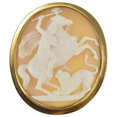 Roman Battle Scene Carved Cameo Gold Brooch
