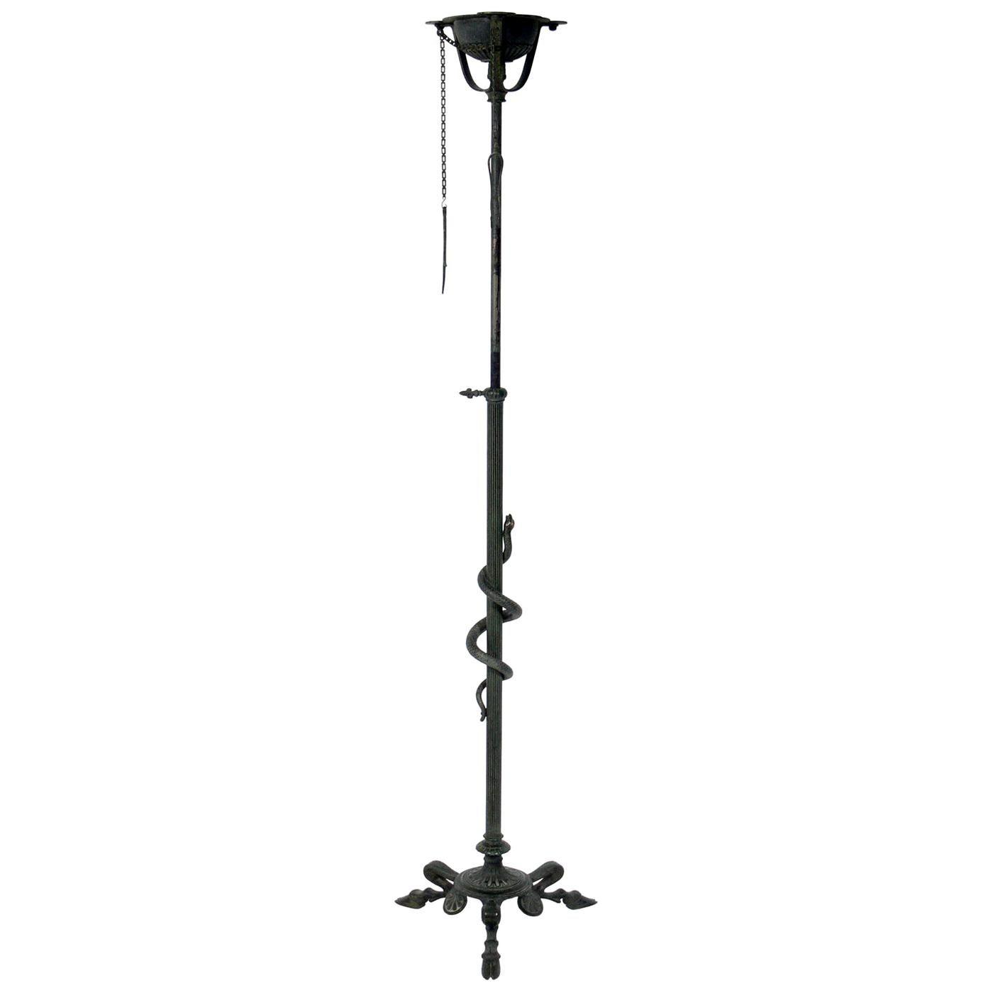 Roman Bronze Floor Lamp Attributed to Tiffany & Co.