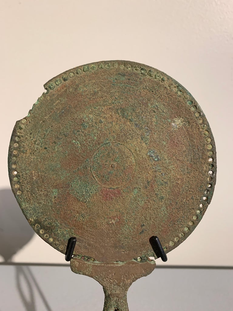 Roman Bronze Hand Mirror with Beautiful Patina, circa 1st Century For Sale 3