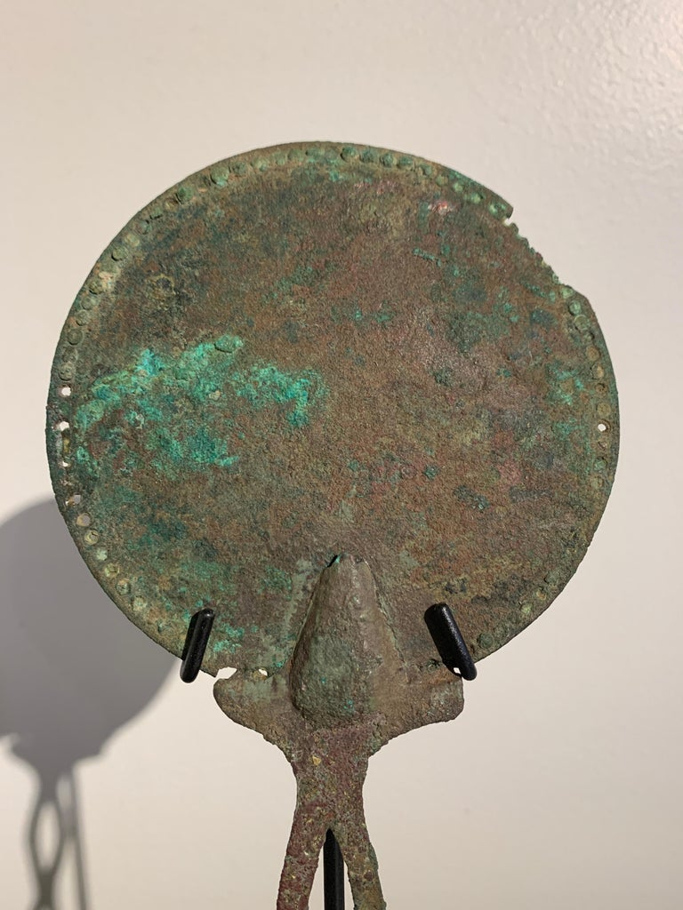 Cast Roman Bronze Hand Mirror with Beautiful Patina, circa 1st Century For Sale