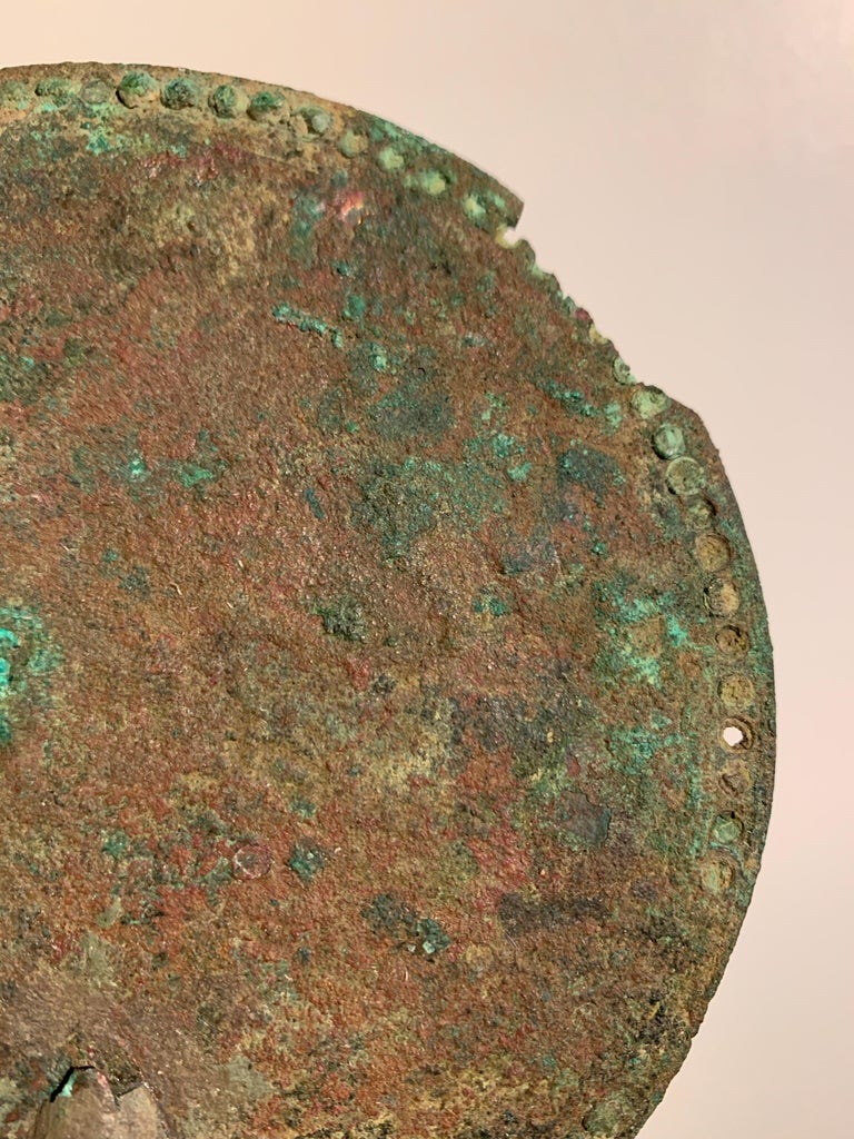 18th Century and Earlier Roman Bronze Hand Mirror with Beautiful Patina, circa 1st Century For Sale