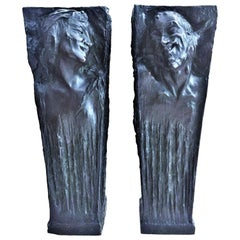 Roman Bronze Works, a Pair of Bronze Vases with Nymph and Satyr Relief, 1900s