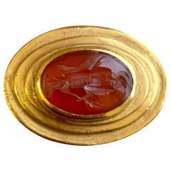 Roman Carnelian Intaglio -1st century BC- 18 Kt Gold Ring, depicting God Mercury