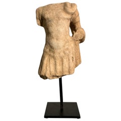 Roman Carved Marble Torso in Military Dress, circa 2nd-3rd Century