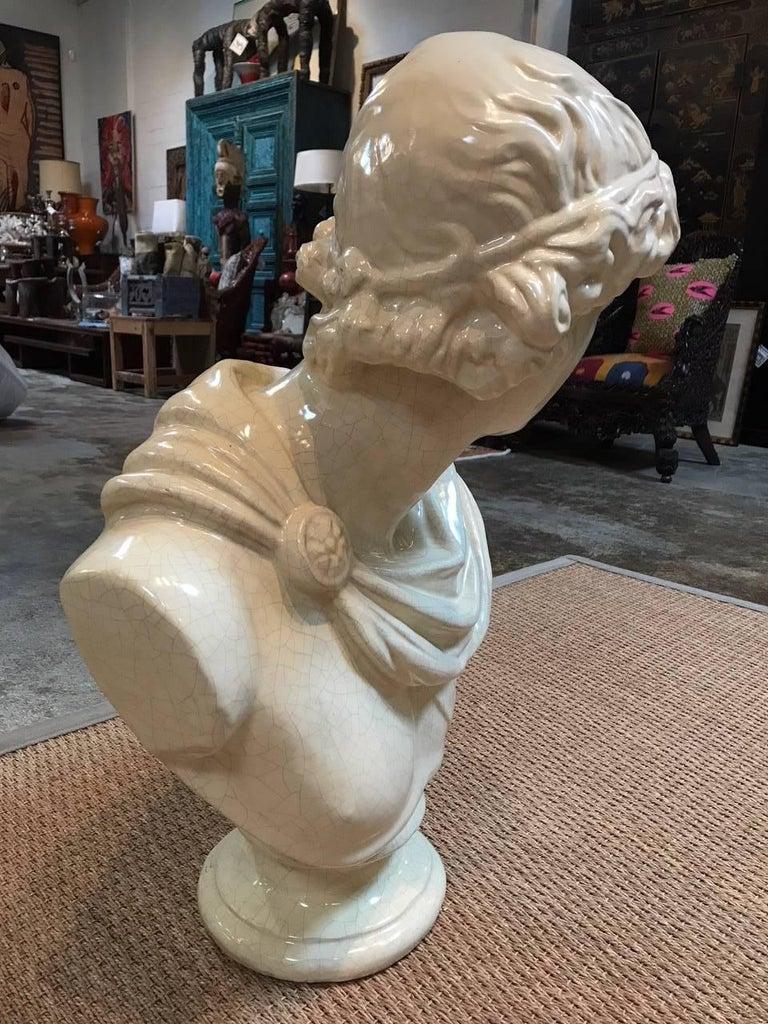 Roman Ceramic Bust In Good Condition For Sale In Dallas, TX
