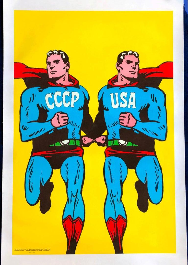 Roman Cieslewicz Superman CCCP USA silkscreen 1968 For Sale 1