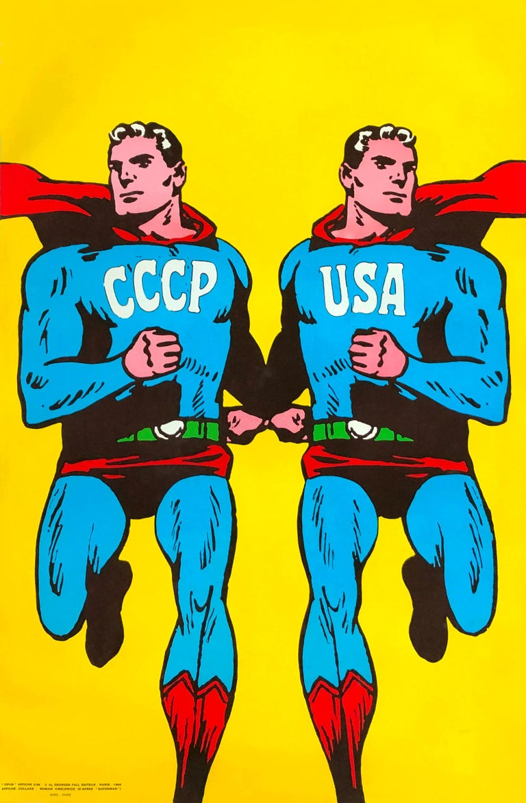 Superman 1968 CCCP / USA by Roman Cieslewicz  Original vintage Superman style poster: CCCP USA by the legendary graphic designer Roman Cieslewicz featuring bold, colorful Superman mirror images depicted as Cold War rivals. USSR (CCCP / Soviet Union)