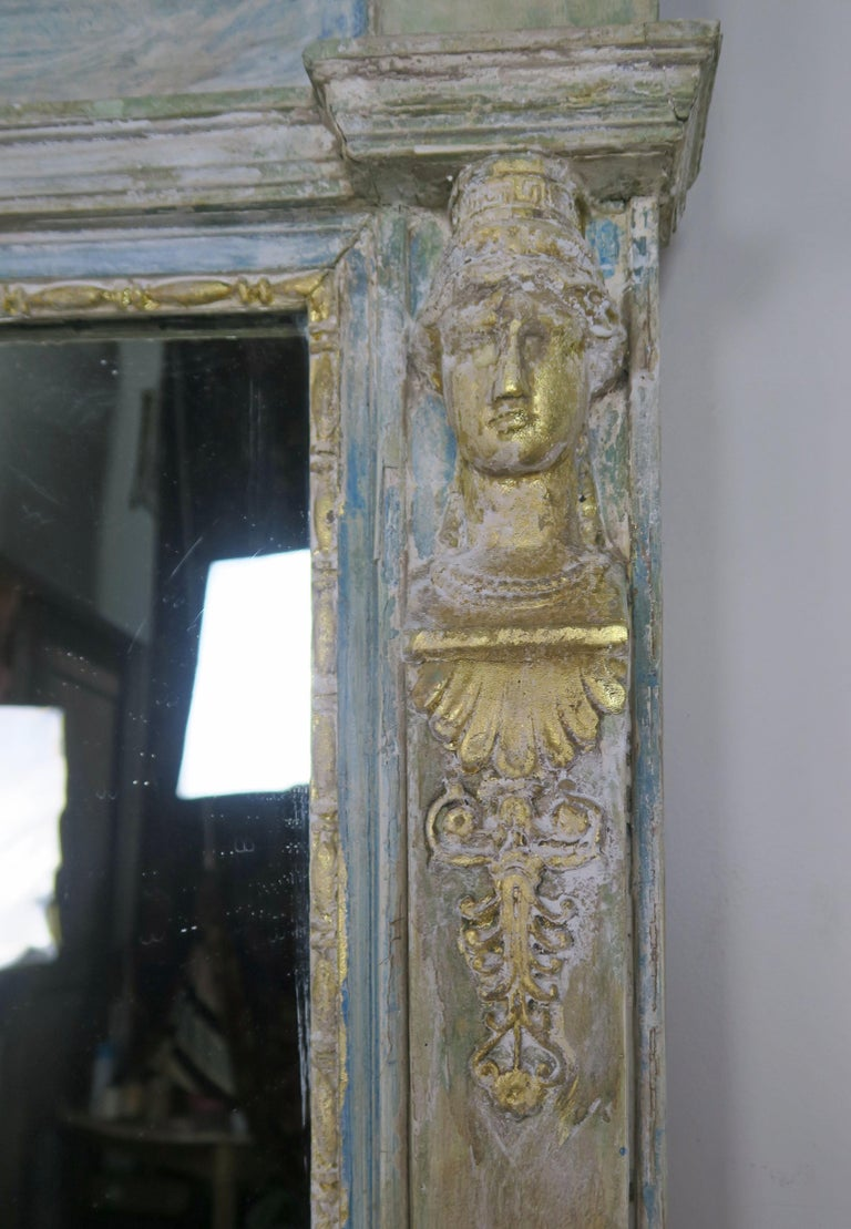 Roman Classical Style Painted Mirror with Chariot and Horses For Sale 5