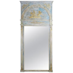 Roman Classical Style Painted Mirror with Chariot and Horses
