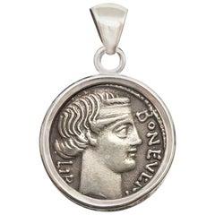 """Roman Coin '62 BC' Pendant Depicting a """"Bonus Eventus"""", God of """"Good Fortune"""""""