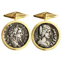 Roman Coins '4th Century AD' 18kt Gold Cufflinks Depicting Emperor and Empress