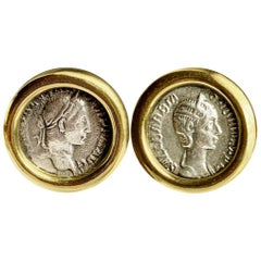 Roman Coins Gold Cufflinks Depicting Emp. Alexander Severus and His Wife Orbiana