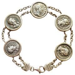 Roman Coins Sterling Silver Bracelet Depicting 5 Roman Emperors