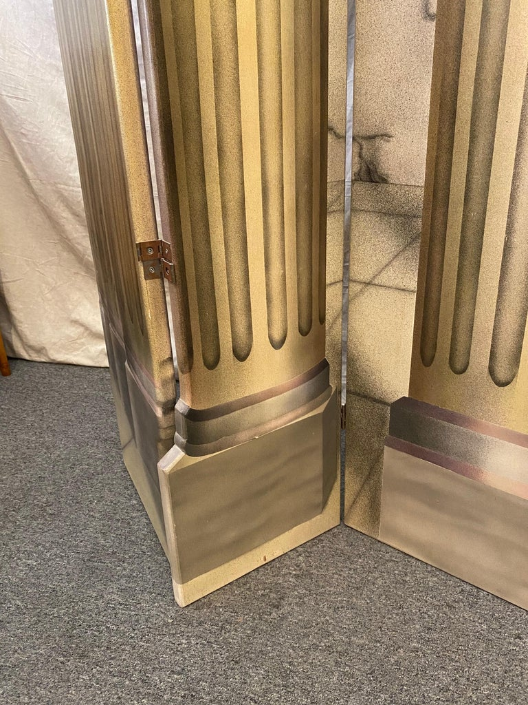 Painted and Air-Brushed 6-panel Roman columns. Each section in hinged to fold in either direction. Making it very easy to arrange in multiple configurations. Signed and dated 1991 very nice quality! Painted on both sides!