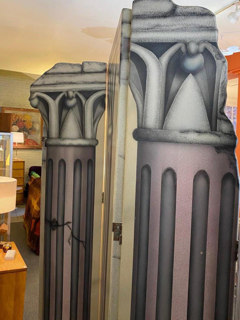 Wood Roman Columns 6-Panel Screen For Sale
