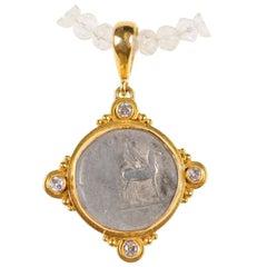 Roman Empire Domitian Coin circa 81-96 AD Set in Gold with Diamond Accents