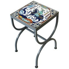 Tile Top Grey Metal Side or Drinks Table Indoors or Patio in the style of Hermes