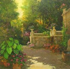 """""""Jardin De Napoles"""" by Roman Frances 44"""" x 44"""" Oil on Canvas"""
