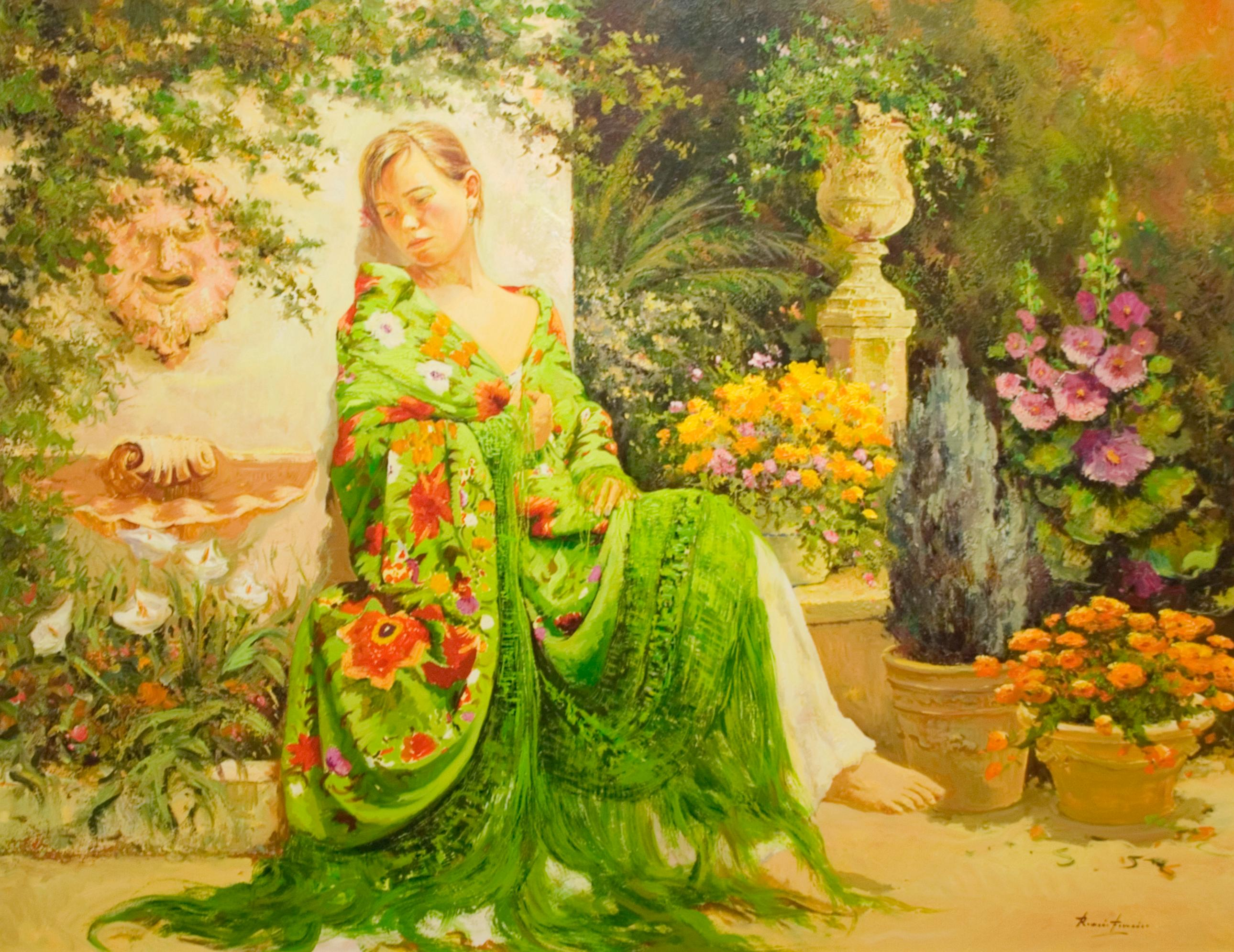 """La Bohem"" by Roman Frances 44 x 57  inch Oil on Canvas"